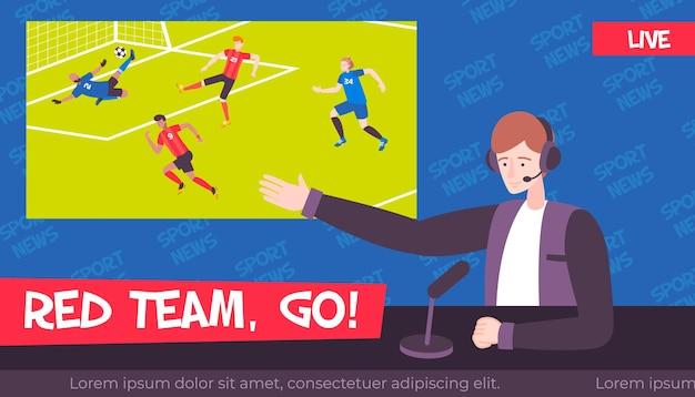 Sportnachrichtenillustration im flachen stil mit charakter des fernsehsenders und des fußballspiels