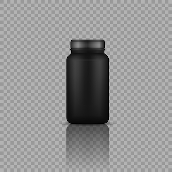 Sportnahrungsmittel schwarze behälter realistische schwarze plastikflasche mit proteinvektor