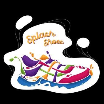 Sportschuhe voller farbe splash