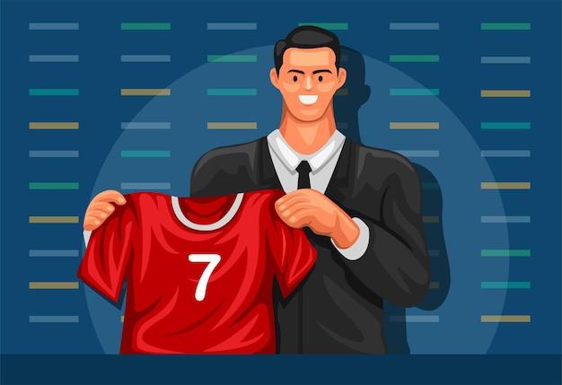 Sportspieler, der neuen verein und trikot in der karikaturillustration der pressekonferenz startet