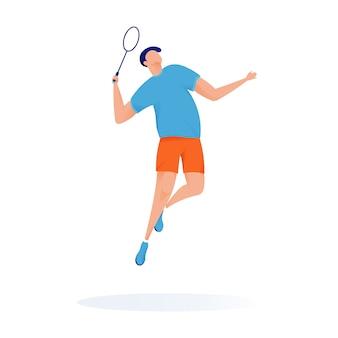 Sportspieler-tennisvektormaskottchen illustartion modern
