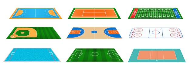 Sportspielfelder, die hintergrund markieren.