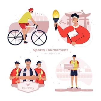 Sportspielturnier-illustrationsset