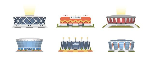 Sportstadion vorderansicht sammlung im cartoon-stil. außenansicht der stadtarena