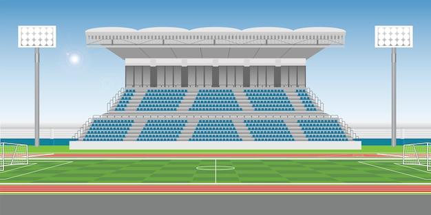 Sportstadiontribüne zum zujubelnden sport mit fußballplatz