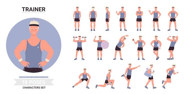 Sporttrainer mann posiert gesetzt, männlicher charakter zeigt muskeln, posiert mit ball, training