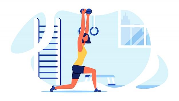 Sporttraining für frauen. muskulöser körper. vektor.