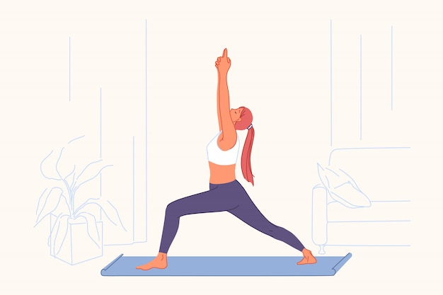 Sportübungen, yogapraxis, aktives lebensstilkonzept