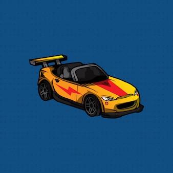 Sportwagen des handabgehobenen betrages gelb und rot