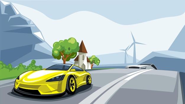Sportwagen rasen die straße entlang mit einer wunderschönen europäischen landschaft in den alpen.