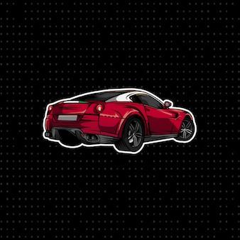 Sportwagen red coupe hand zeichnen