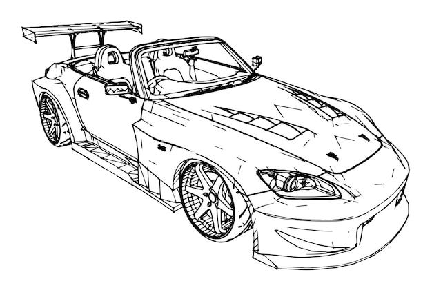 Sportwagen. stock illustration im stil von handgezeichneten linearen grafiken.