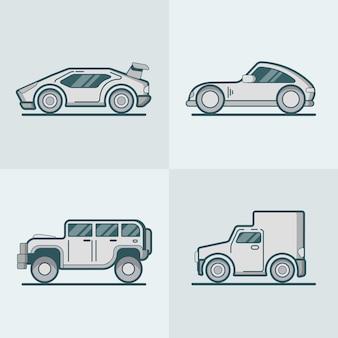 Sportwagen supercar jeep suv van lineart