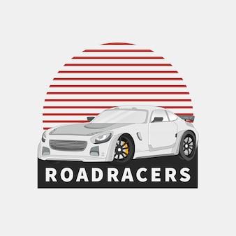 Sportwagen- und straßenrennen im isolierten weißen hintergrund