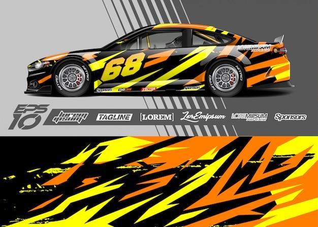 Sportwagen wrap abstraktes renndesign