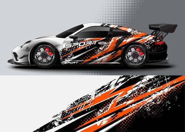 Sportwagen-wrap-design und fahrzeuglackierung