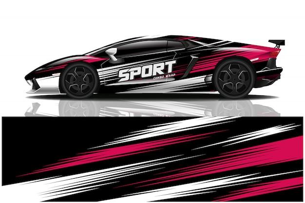 Sportwagenverpackung aufkleber design