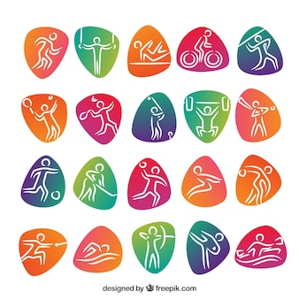 Sportwettbewerbsikonen mit farbigen abstrakten formen