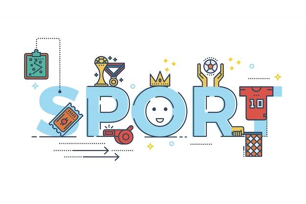 Sportwort, das typografiedesignillustration für fahne beschriftet
