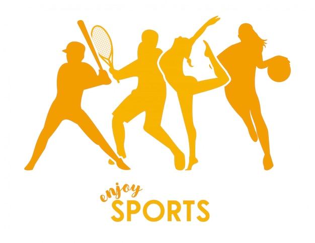Sportzeit mit gelben athletenfiguren silhouetten