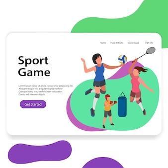 Sportzentrum illustration volleyball badminton landing page
