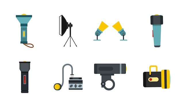 Spotlight-icon-set. flacher satz der scheinwerfervektor-ikonensammlung lokalisiert