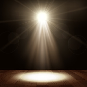 Spotlight in show-performance mit holzboden