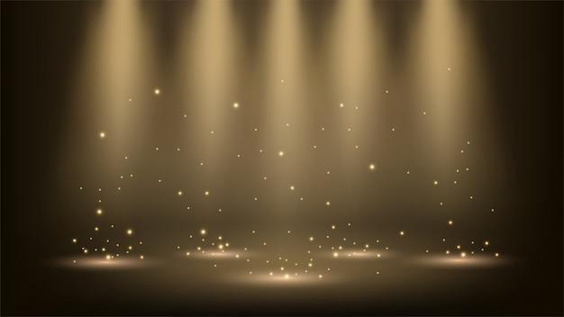 Spotlights, die mit scheinen glänzen