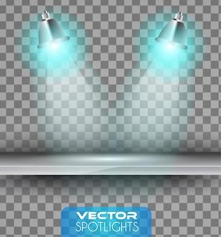 Spotlights szene mit verschiedenen lichtquellen auf das regal