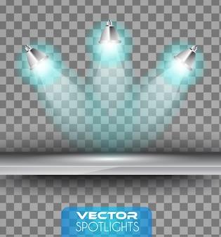 Spotlights szene mit verschiedenen lichtquellen auf dem boden oder regal.