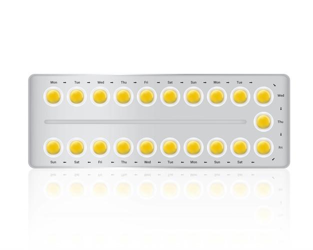 Spott herauf realistische antibabypille-medizin-platte auf weiß
