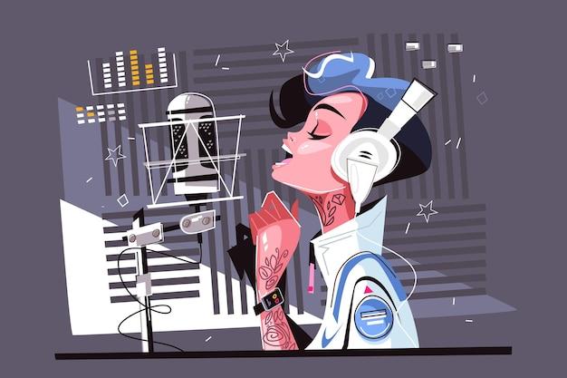Sprachaufnahme studio vektor-illustration hübsche cartoon-frau im stehen mit kopfhörern