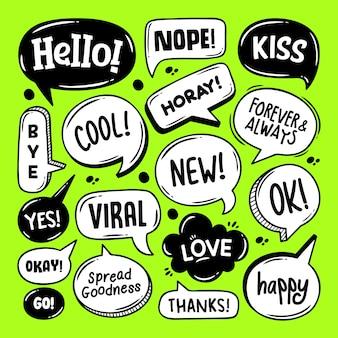 Sprachblasen hand gezeichnete färbung