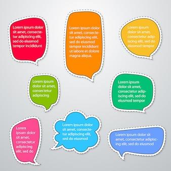 Sprachblasenschablone mit verschiedenen farben