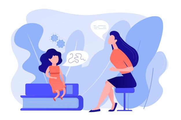 Sprachenpathologe. grundlegende sprachkenntnisse. artikulationsproblem. sprachtherapie, sprachtherapie, verbesserung des sprachentwicklungskonzepts. isolierte illustration des rosa korallenblauvektorvektors