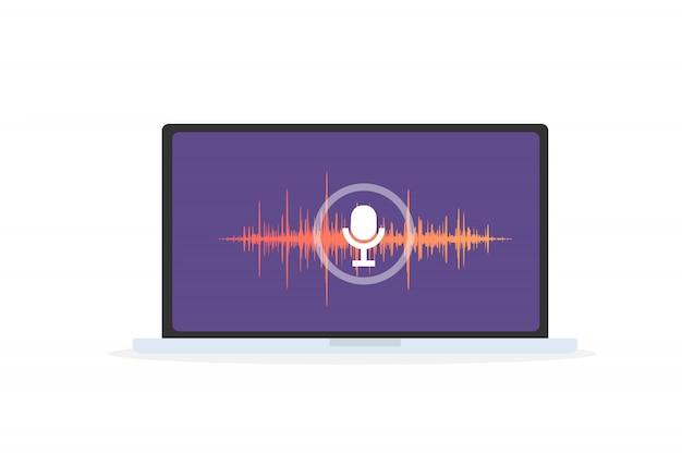 Spracherkennung persönlicher assistent in der mobilen app. konzeptillustration des geräts mit mikrofonsymbol auf dem bildschirm und sprach- und tonimitationslinien.