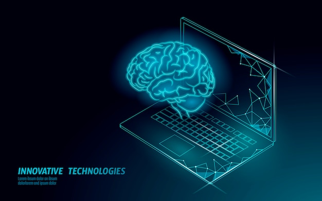 Spracherkennungsdiensttechnologie für virtuelle assistenten. unterstützung für ki-roboter mit künstlicher intelligenz. chatbot gehirn auf laptop-system illustration.