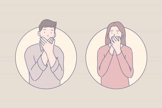 Sprachloses opfer, unsicherheit, erschrockenes augenzeugenkonzept