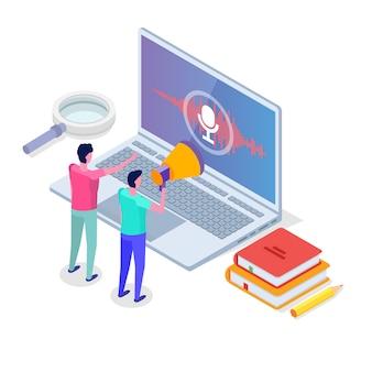 Sprachnachrichten, isometrisches spracherkennungskonzept mit charakter. kann für web-banner, landingpage-vorlage, infografiken verwendet werden.