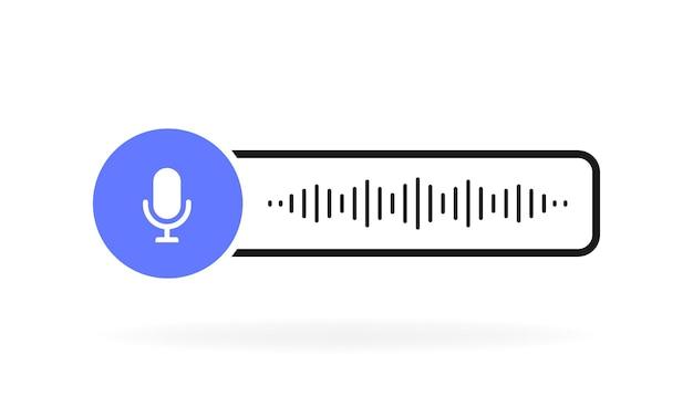 Sprachnachrichten mit mikrofon. korrespondenz mit sprachnachrichten.