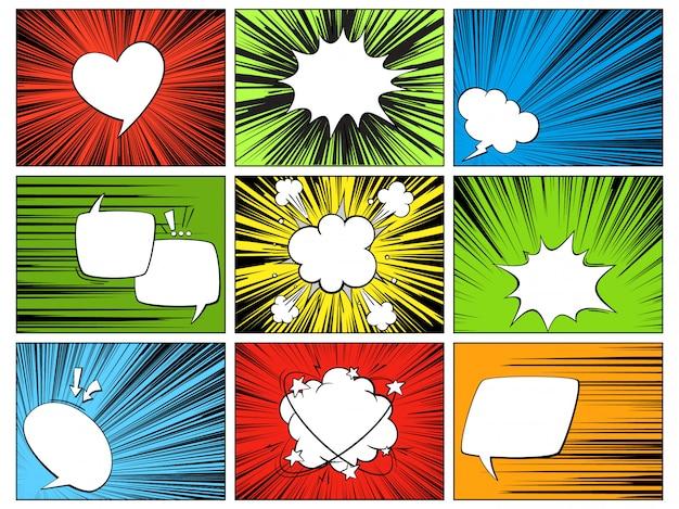 Sprachradialelemente. comic-cartoon-formen für dialoge, die auf dem mehrfarbigen horizontalen linienabdeckungsstrahl-heldensatz denken und sprechen