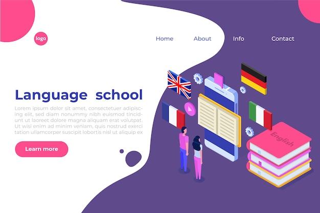 Sprachschule, online-lernen. übersetzer isometrisch.