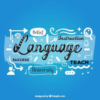 Sprachzusammensetzungshintergrund mit flachem design