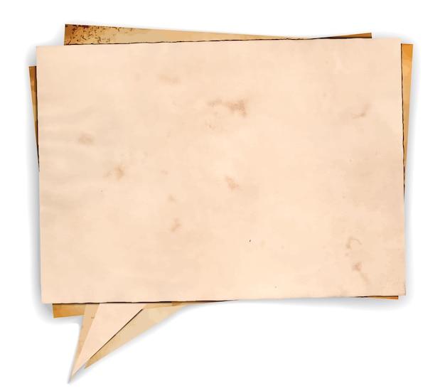 Sprechblase aus gealtertem papier