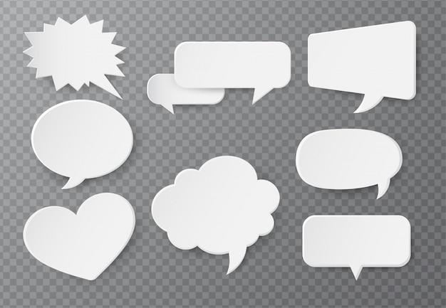 Sprechblase aus papier für die texteingabe