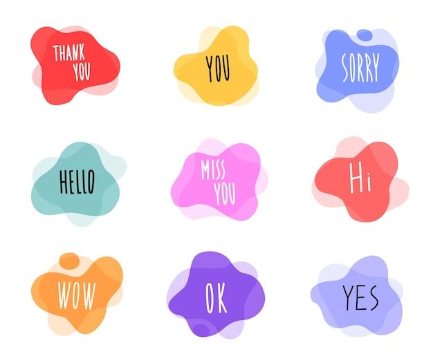 Sprechblase im trendigen handgezeichneten stil mit text
