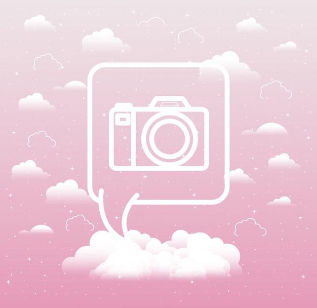 Sprechblase mit fotografischer trendikone der kamera