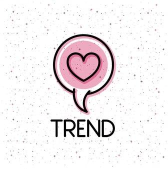 Sprechblase mit herz trend symbol