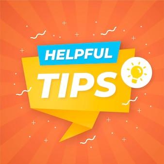 Sprechblase mit hilfreichen tipps