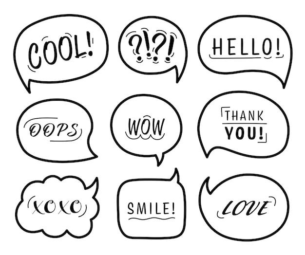 Sprechblase mit konversationsphrasen und wörtern auf weißem hintergrund. vektor-illustration.